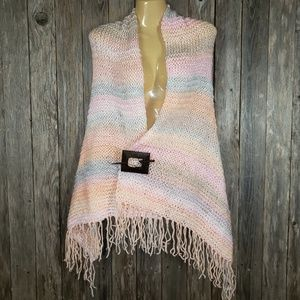 Pink Peach Gray Hand Knitted Shawl Scarf Wrap New
